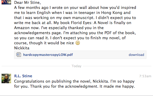 Best selling author R.L. Stine wrote me back!